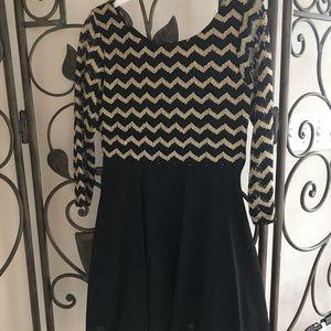 Girls dressy black and gold dress